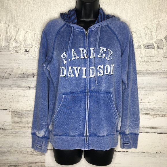 Harley-Davidson Womens Washed Blue Long Sleeve Full Zip Burnout Hoodie Jacket